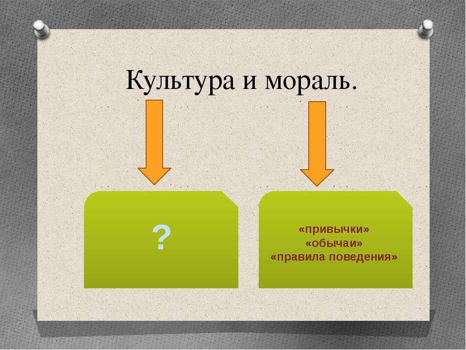Культура и мораль. «привычки» «обычаи» «правила поведения» ?
