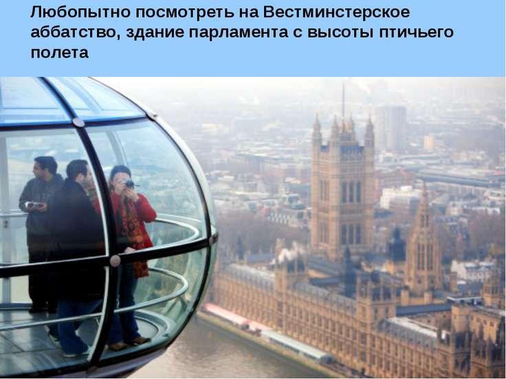 Любопытно посмотреть на Вестминстерское аббатство, здание парламента с высоты...