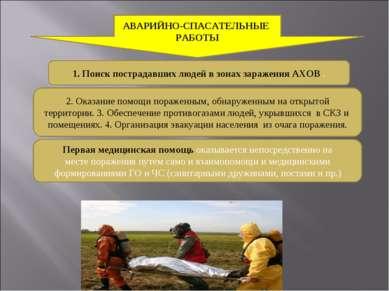 1. Поиск пострадавших людей в зонах заражения АХОВ . 2. Оказание помощи пораж...