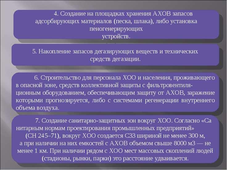 4. Создание на площадках хранения АХОВ запасов адсорбирующих материалов (песк...