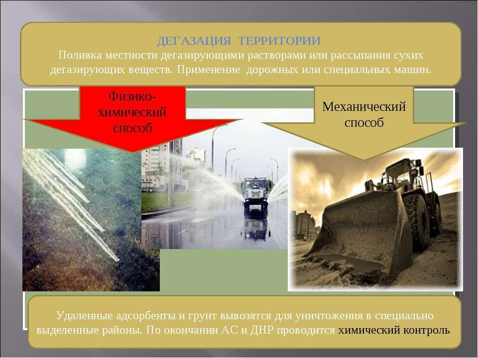 ДЕГАЗАЦИЯ ТЕРРИТОРИИ Поливка местности дегазирующими растворами или рассыпани...