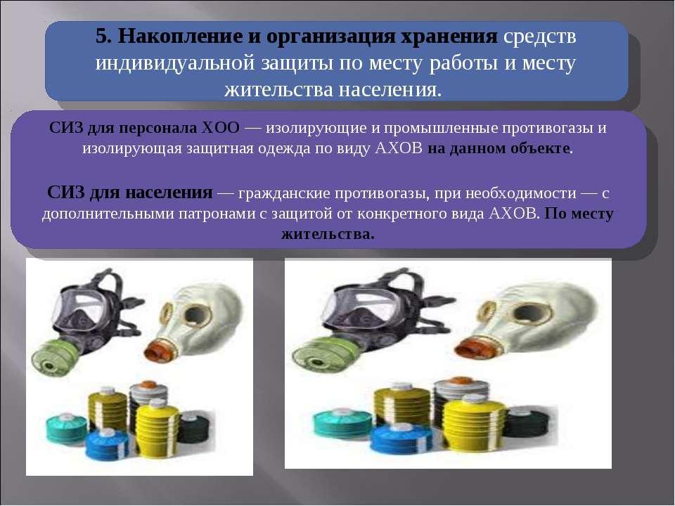 5. Накопление и организация хранения средств индивидуальной защиты по месту р...