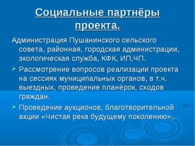 Социальные партнёры проекта. Администрация Пушанинского сельского совета, рай...