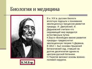 Биология и медицина К.М.Бэр. В н. XIX в. русские биологи вплотную подошли к п...