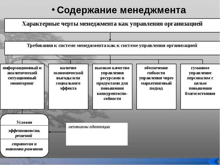 Содержание менеджмента Характерные черты менеджмента как управления организац...