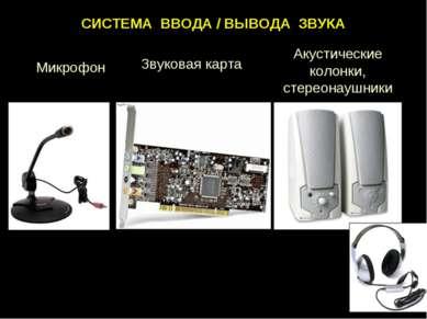 СИСТЕМА ВВОДА / ВЫВОДА ЗВУКА Первый фонограф Эдисона (1877 г.) Микрофон Звуко...