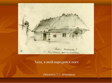 Хата, в якій народився поет (Малюнок Т.Г. Шевченка)
