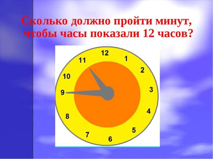 Сколько должно пройти минут, чтобы часы показали 12 часов?