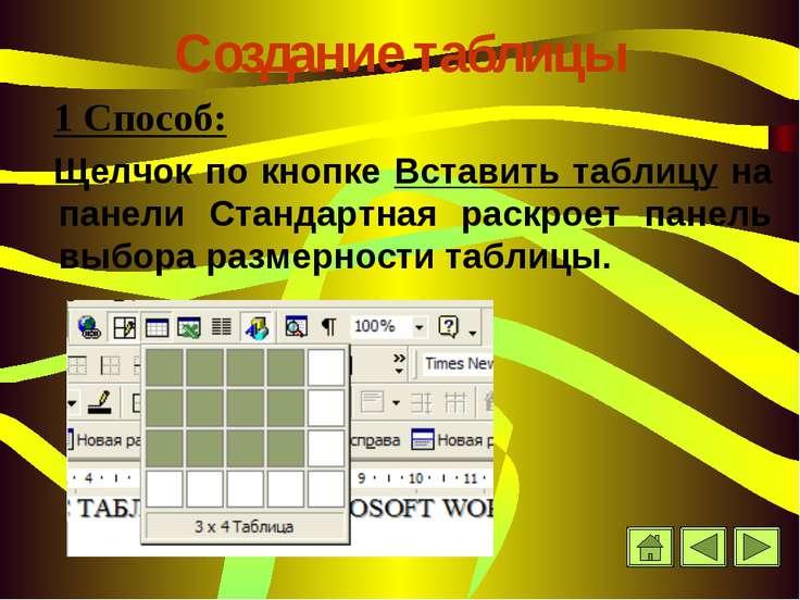 Создание таблицы 1 Способ: Щелчок по кнопке Вставить таблицу на панели Станда...