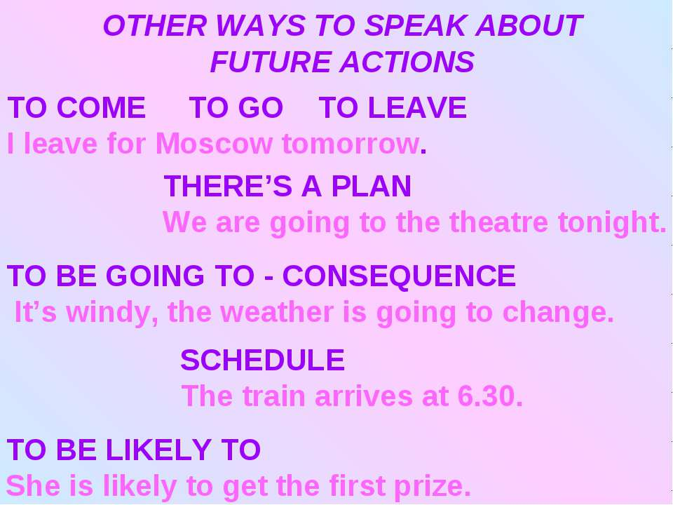 OTHER WAYS TO SPEAK ABOUT FUTURE ACTIONS TO COME TO GO TO LEAVE I leave for M...