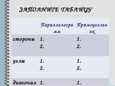 ЗАПОЛНИТЕ ТАБЛИЦУ Параллелограмм Прямоугольник стороны 1. 2. 1. 2. углы 1. 2....