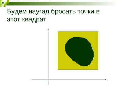Будем наугад бросать точки в этот квадрат F