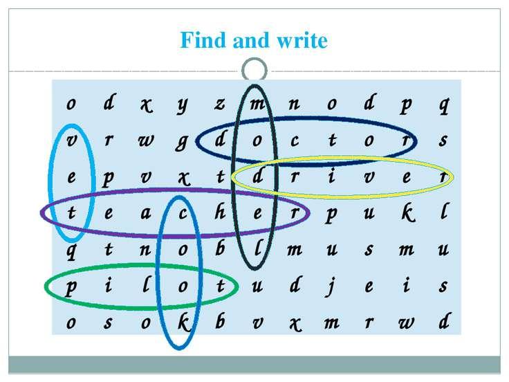 Find and write o d x y z m n o d p q v r w g d o c t o r s e p v x t d r i v ...