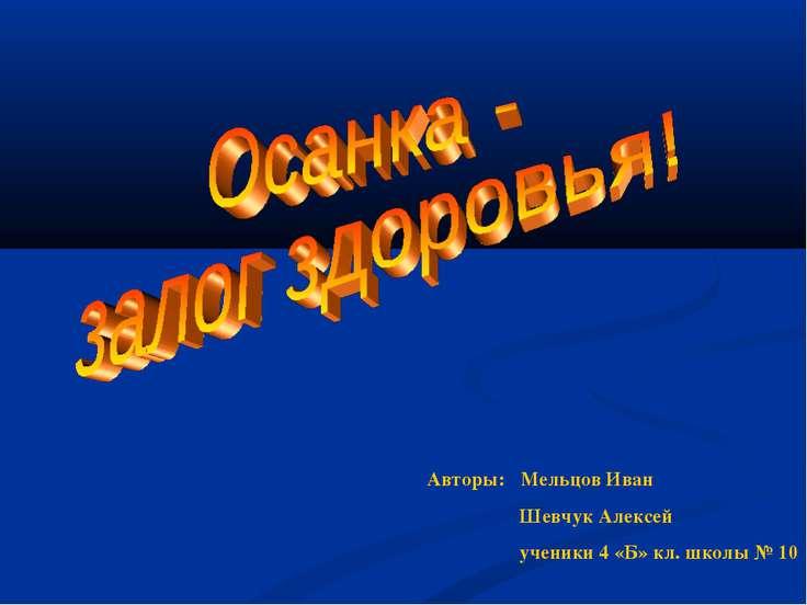 Авторы: Мельцов Иван Шевчук Алексей ученики 4 «Б» кл. школы № 10