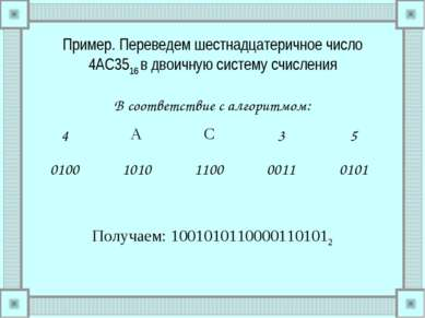 Пример. Переведем шестнадцатеричное число 4AC3516 в двоичную систему счислени...