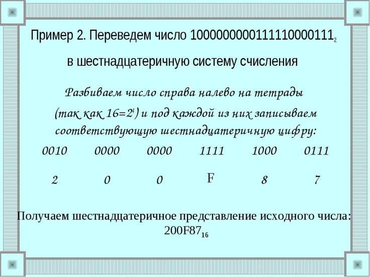Пример 2. Переведем число 10000000001111100001112 в шестнадцатеричную систему...