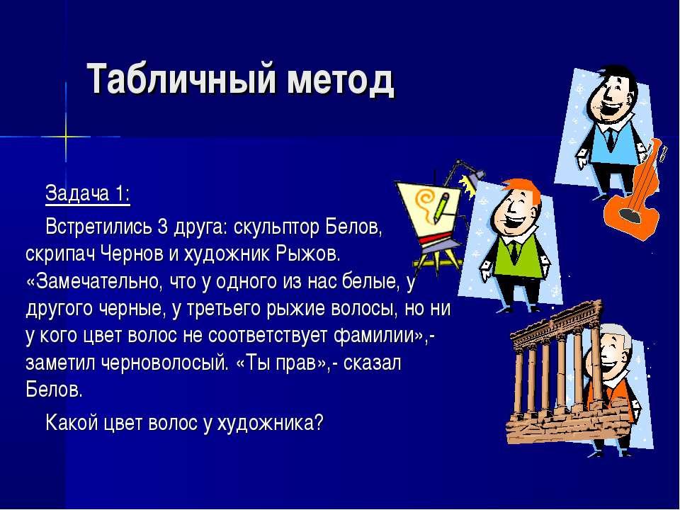 Табличный метод Задача 1: Встретились 3 друга: скульптор Белов, скрипач Черно...