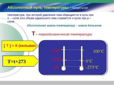 Абсолютный нуль температуры – предельная температура, при которой давление га...