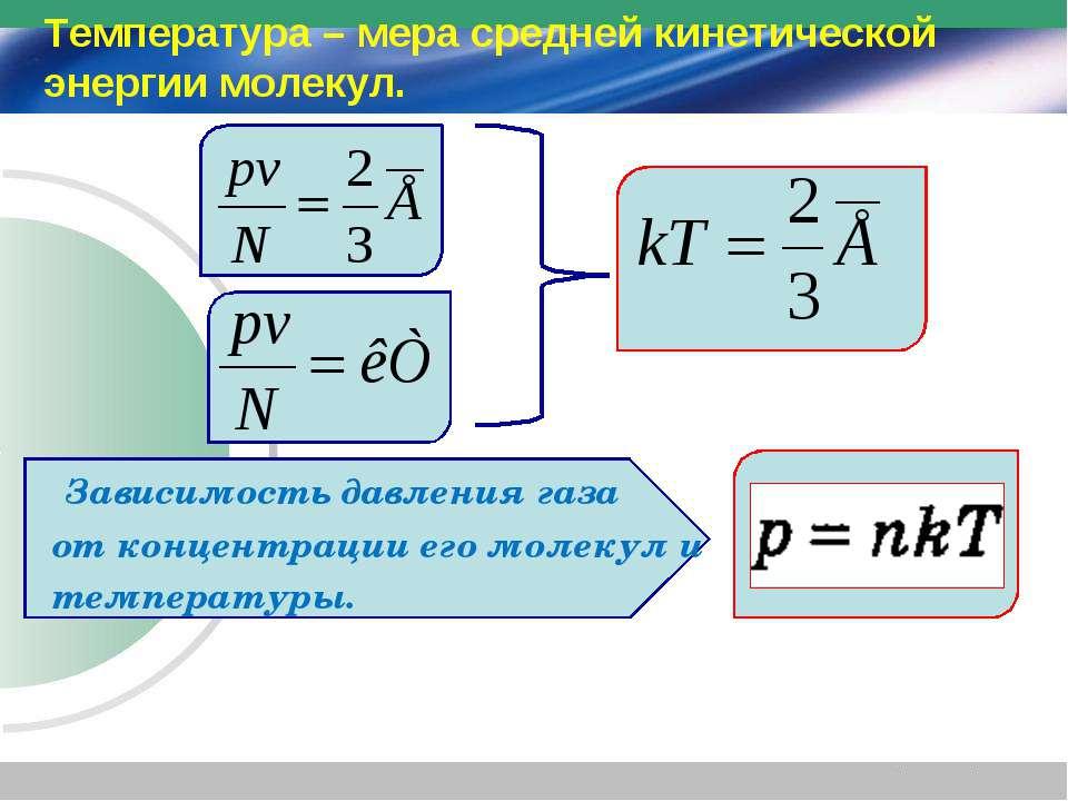 Зависимость давления газа от концентрации его молекул и температуры. Температ...