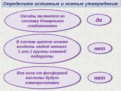Определите истинные и ложные утверждения: Оксиды являются по составу бинарным...