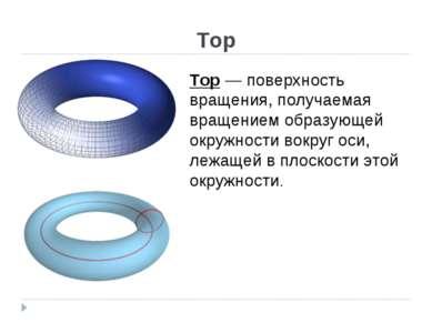 Тор Тор — поверхность вращения, получаемая вращением образующей окружности во...