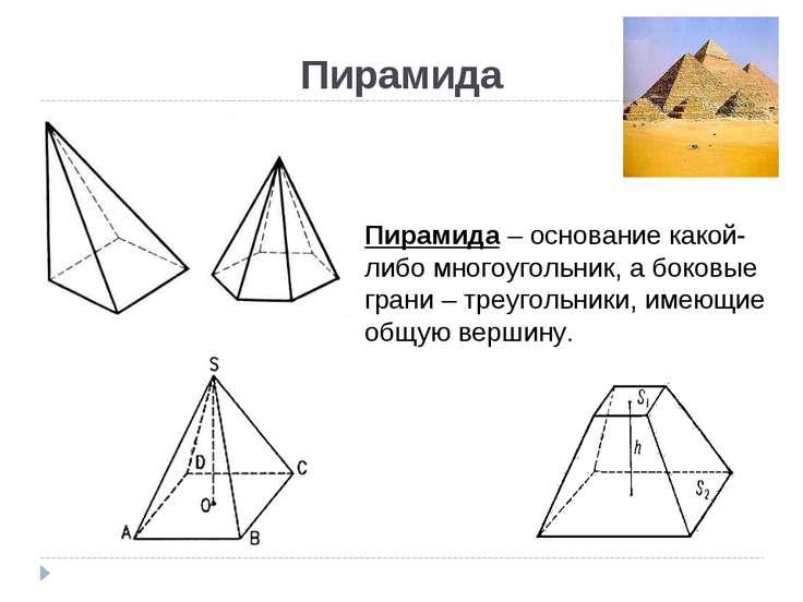 Пирамида Пирамида – основание какой-либо многоугольник, а боковые грани – тре...