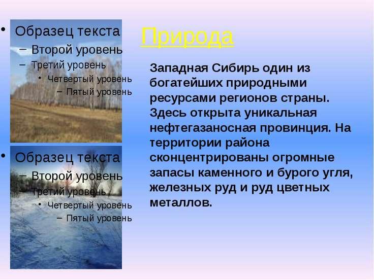 Природа Западная Сибирь один из богатейших природными ресурсами регионов стра...