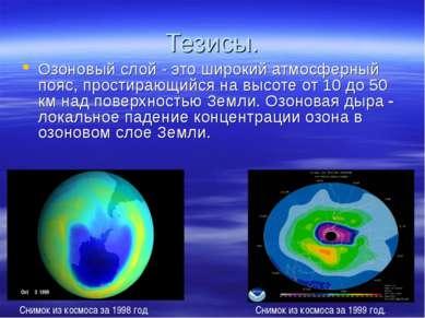 Тезисы. . Снимок из космоса за 1999 год. Озоновый слой - это широкий атмосфер...