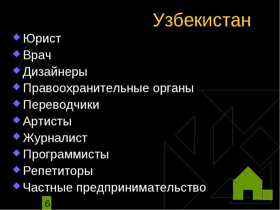 Узбекистан Юрист Врач Дизайнеры Правоохранительные органы Переводчики Артисты...