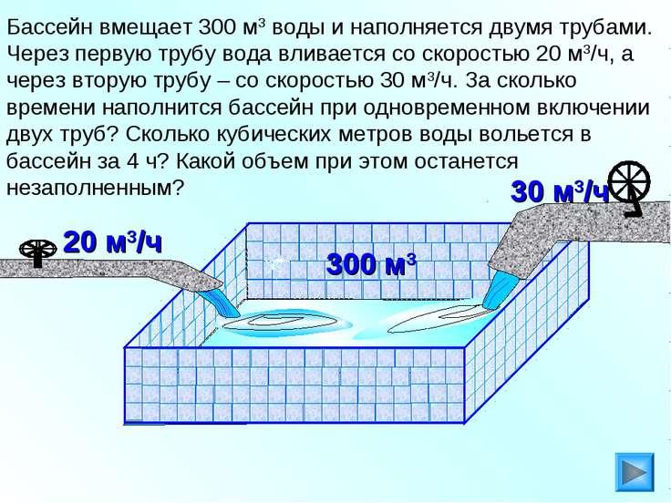 Бассейн вмещает 300 м3 воды и наполняется двумя трубами. Через первую трубу в...