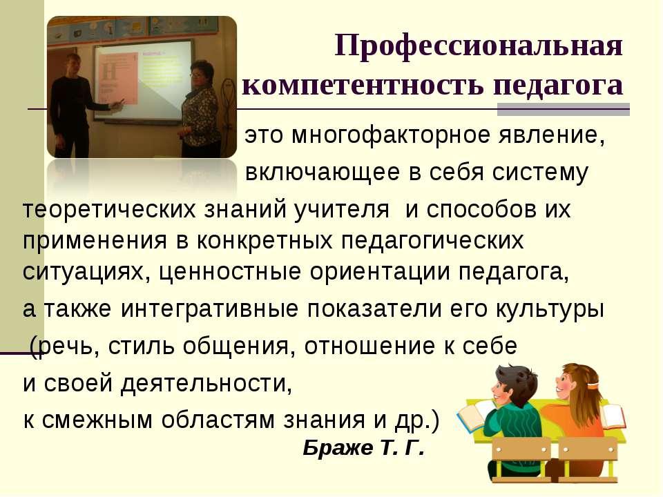 Профессиональная компетентность педагога это многофакторное явление, включающ...