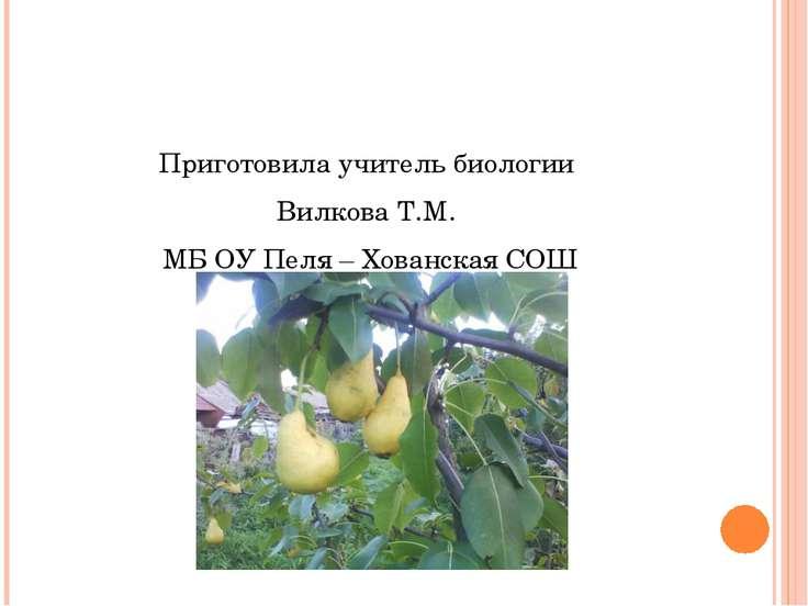 Приготовила учитель биологии Вилкова Т.М. МБ ОУ Пеля – Хованская СОШ