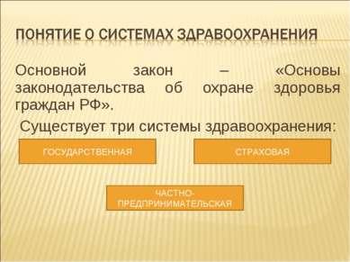 Основной закон – «Основы законодательства об охране здоровья граждан РФ». Сущ...