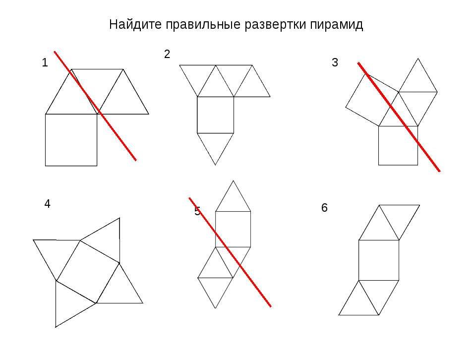 1 2 3 4 5 6 Найдите правильные развертки пирамид