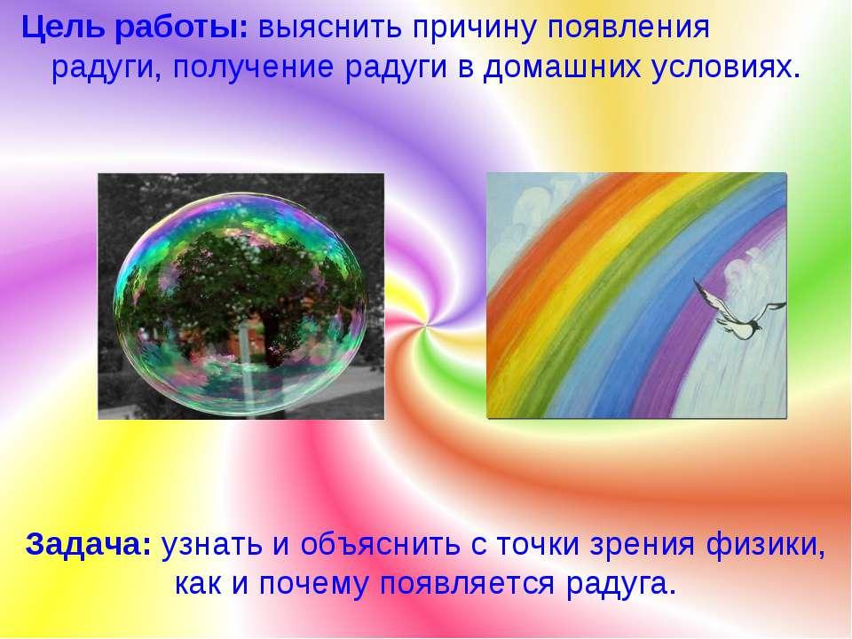 Цель работы: выяснить причину появления радуги, получение радуги в домашних у...