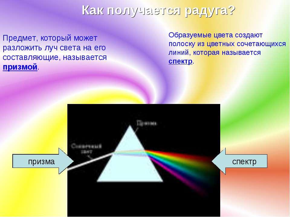 Как получается радуга? Предмет, который может разложить луч света на его сост...