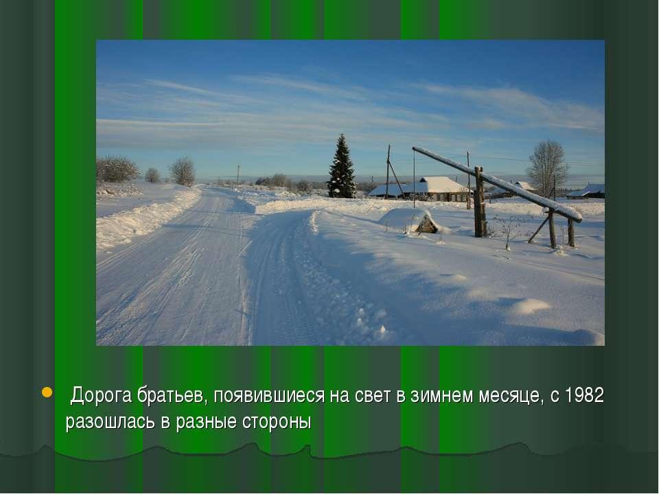 Дорога братьев, появившиеся на свет в зимнем месяце, с 1982 разошлась в разны...