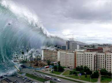 Цунами Цунами — это длинные волны, порождаемые мощным воздействием на всю тол...