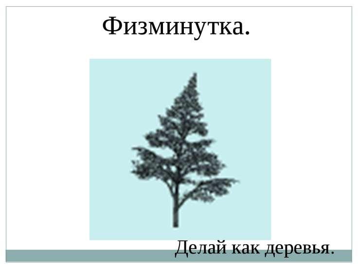 Физминутка. Делай как деревья.