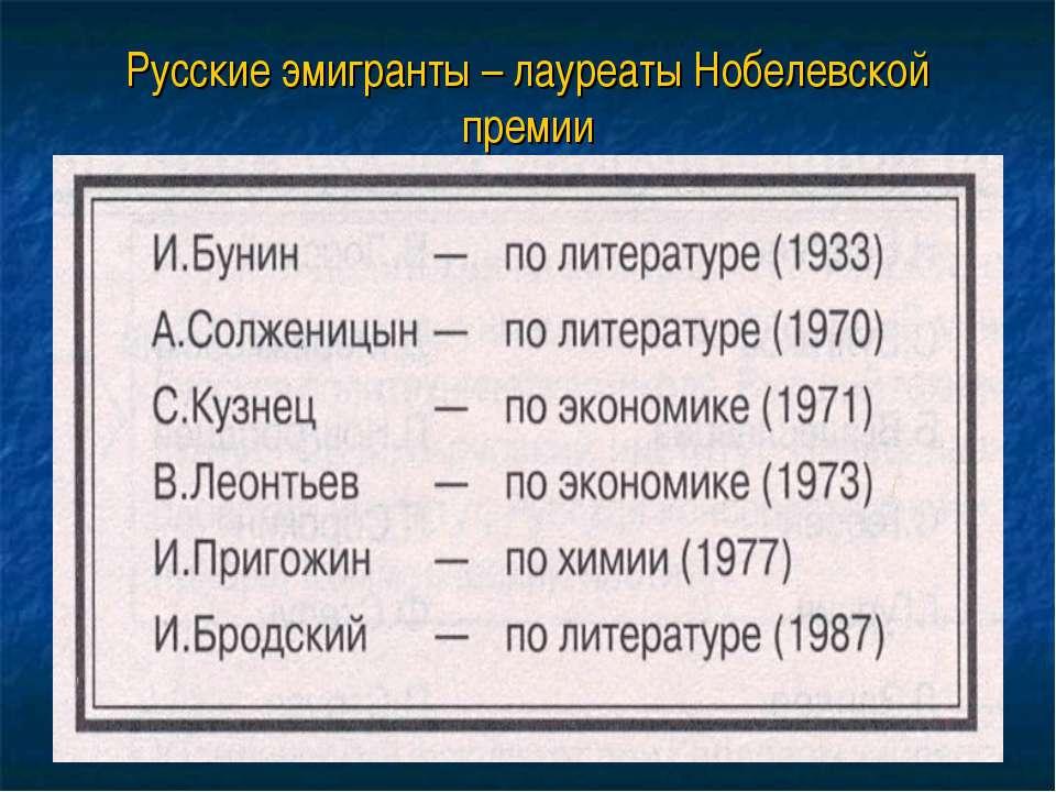 Русские эмигранты – лауреаты Нобелевской премии
