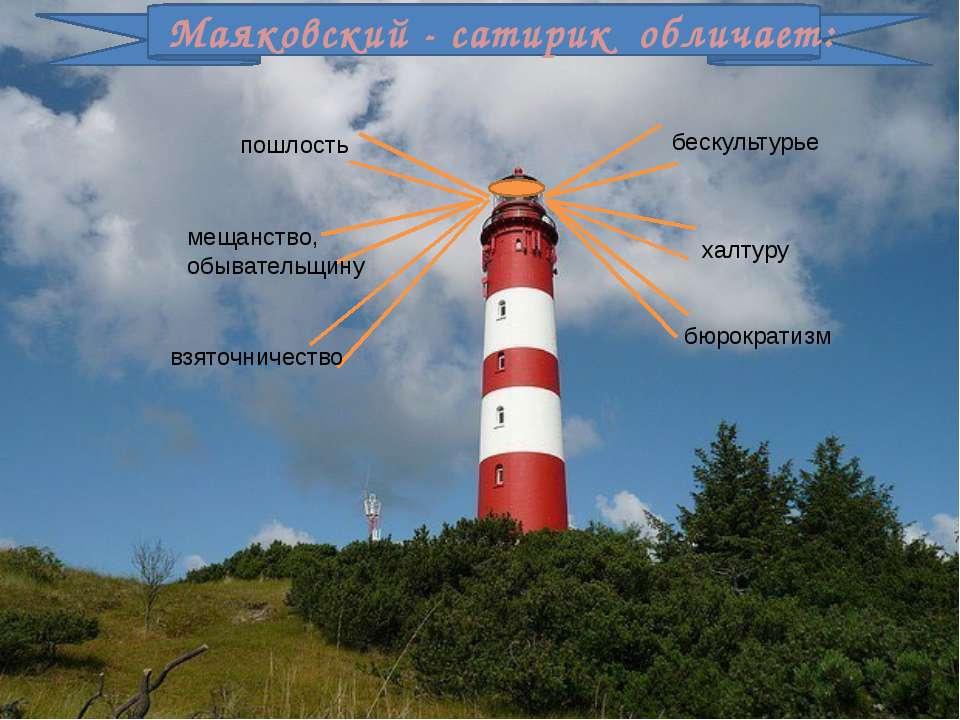 Маяковский - сатирик обличает: пошлость мещанство, обывательщину взяточничест...