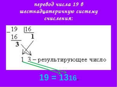перевод числа 19 в шестнадцатеричную систему счисления: 19 = 1316.