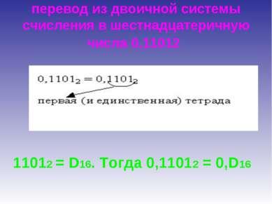 перевод из двоичной системы счисления в шестнадцатеричную числа 0,11012 11012...