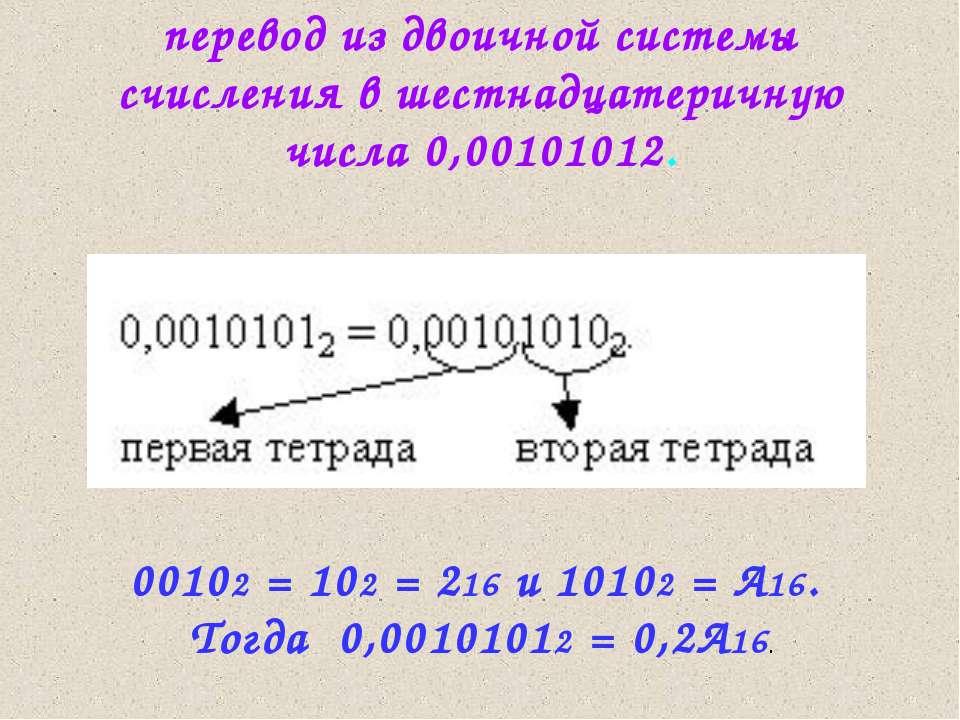 перевод из двоичной системы счисления в шестнадцатеричную числа 0,00101012. 0...
