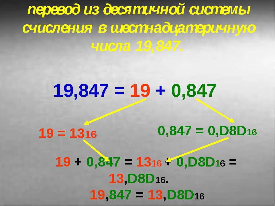 перевод из десятичной системы счисления в шестнадцатеричную числа 19,847. 19,...