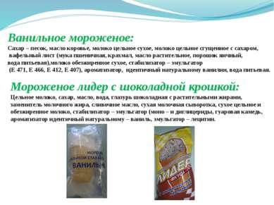 Ванильное мороженое: Сахар – песок, масло коровье, молоко цельное сухое, моло...