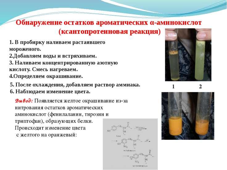 Обнаружение остатков ароматических α-аминокислот (ксантопротеиновая реакция) ...