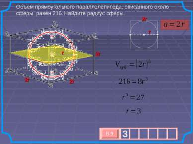 Объем прямоугольного параллелепипеда, описанного около сферы, равен 216. Найд...
