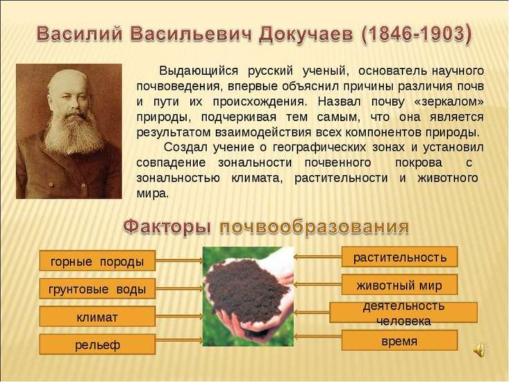 Выдающийся русский ученый, основатель научного почвоведения, впервые объяснил...