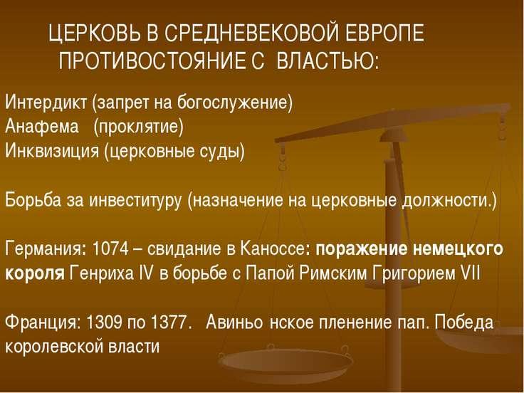 Интердикт (запрет на богослужение) Анафема (проклятие) Инквизиция (церковные ...